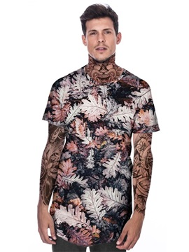 Modern Round Neck Black Leaves Pattern 3D Painted T-Shirt