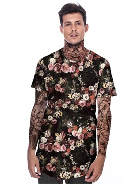 Modern Round Neck Flowers Pattern 3D Painted T-Shirt