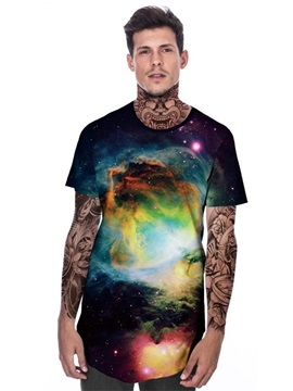 Modern Round Neck Black Galaxy Pattern Men 3D Painted T-Shirt