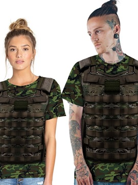 Modern Round Neck Army Green Armor Pattern 3D Painted T-Shirt