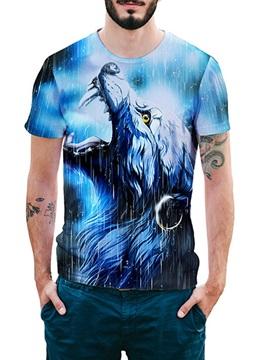 Beddinginn Color Block Print Fashion Round Neck Loose Men's T-shirt