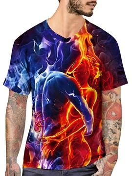 Beddinginn Print Color Block Round Neck Fashion Loose Men's T-shirt