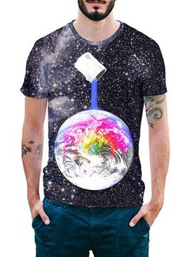 Beddinginn Color Block Fashion Round Neck Print Loose Men's T-shirt