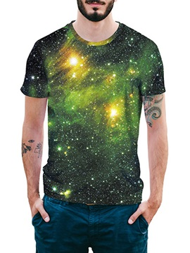 Beddinginn Round Neck Print Color Block Fashion Short Sleeve Men's T-shirt
