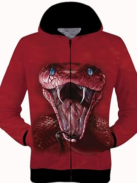 Long Sleeve Zip-Front Cobra Pattern 3D Painted Hoodie