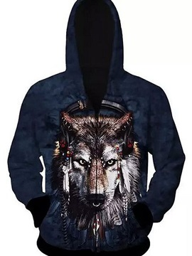 Unique Long Sleeve Zip-Front Music Wolve Pattern 3D Painted Hoodie