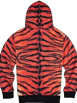 Long Sleeve Zip-Front Tiger Face Pattern 3D Painted Hoodie