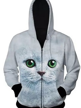 Cute Long Sleeve 3D Painted Cat Pattern Zipper Hoodie for Men