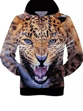 Unique Long Sleeve 3D Painted Leopard Face Pattern Zipper Hoodie for Men