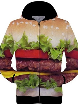 Unique Long Sleeve 3D Painted Hamburger Pattern Zipper Hoodie for Men