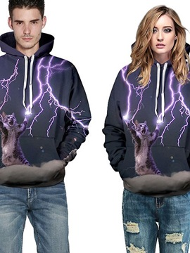 Cool Long Sleeve Cat Make Lightning Pattern 3D Painted Hoodie