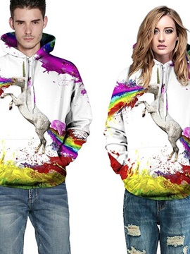 Long Sleeve Unicorn Colorful Rainbow Pattern 3D Painted Hoodie