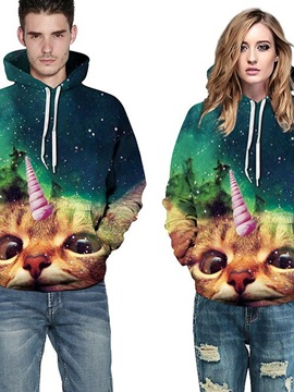Colorful Long Sleeve Cat Pattern Starry Sky Background 3D Painted Hoodie