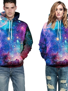 Fashion Long Sleeve Galaxy Colorful Front Pocket Pattern 3D Painted Hoodie