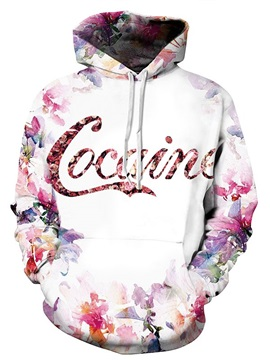 Pretty Long Sleeve Cocaine Flower Pattern 3D Painted Hoodie