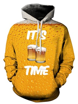 Long Sleeve Beer Pattern 3D Painted Hoodie