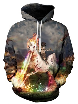 Cute Long Sleeve Unicorn and Cat Fire Running Pattern 3D Painted Hoodie