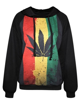 Modern Long Sleeve Maple Leaf Pattern Black 3D Painted Hoodie