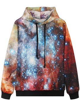 Shining Long Sleeve DIY Galaxy Pattern Pocket 3D Painted Hoodie
