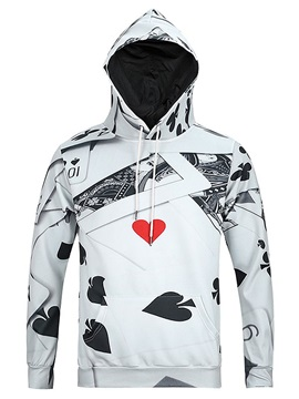 Concise Long Sleeve Poker Pattern Pocket 3D Painted Hoodie