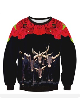 Long Sleeve Cattle and Roses Pattern 3D Painted Hoodie