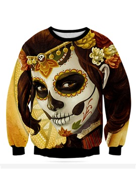Long Sleeve Mask Girl Pattern 3D Painted Hoodie