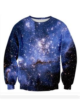 Long Sleeve Blue Galaxy Pattern 3D Painted Hoodie