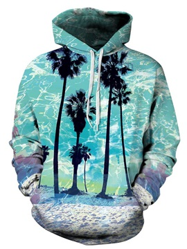 Bright Long Sleeve Coconut Tree Pattern Pocket 3D Painted Hoodie