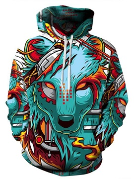 Long Sleeve Cartoon Wolf Pattern Pocket 3D Painted Hoodies