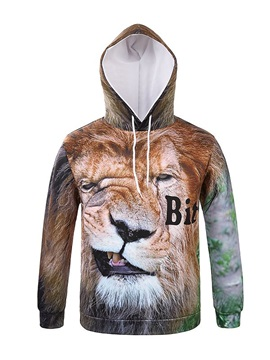 Unique Long Sleeve Special Lion Face Pattern Pocket 3D Painted Hoodie