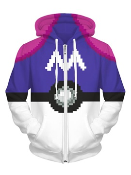 Long Sleeve Purple Poke Ball Pattern Pocket 3D Zipper Painted Hoodie