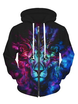Long Sleeve Multicolor Lion Face Pattern 3D Zipper Painted Hoodie
