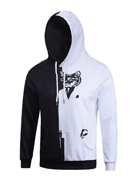 Long Sleeve Cat Pattern Black and White Pocket 3D Painted Hoodie