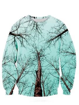 Long Sleeve Tree and Sky Pattern 3D Painted Hoodie