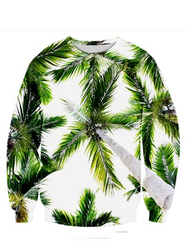 Bright Long Sleeve Coconuts Tree Pattern 3D Painted Hoodie