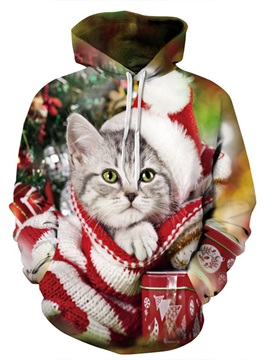 Long Sleeve Christmas Cute Cat Pattern 3D Painted Hoodie