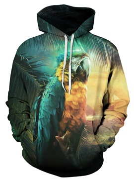 Colorful Long Sleeve Parrot Pattern 3D Painted Hoodie