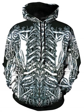 Cool Long Sleeve Skeleton Pattern Pullover 3D Painted Hoodie