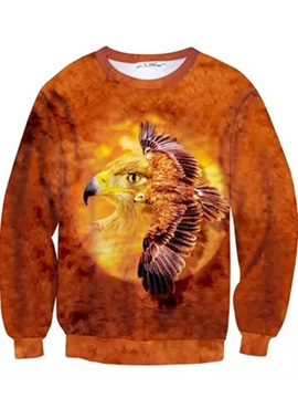 Fashion Long Sleeve Eagle Pattern Inner Suede 3D Painted Hoodie