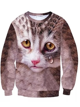 Special Long Sleeve Tearful Cat Pattern Inner Suede 3D Painted Hoodie