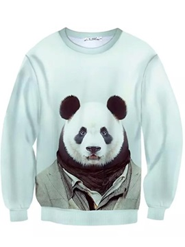 Long Sleeve Panda Sir Pattern Inner Suede 3D Painted Hoodie