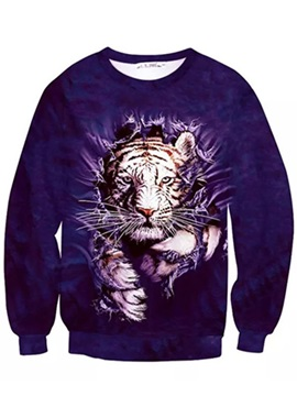 Fashion Long Sleeve Tiger Pattern Inner Suede 3D Painted Hoodie