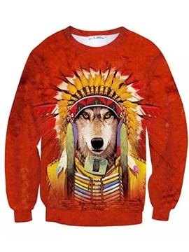 Long Sleeve Tribal Chief Wolf Pattern Inner Suede 3D Painted Hoodie