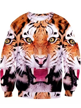 Super Long Sleeve Tiger Pattern Inner Suede 3D Painted Hoodie