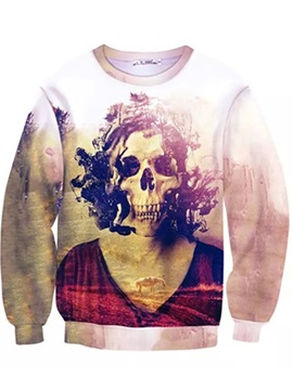 Unique Long Sleeve Skeleton Girl Pattern Inner Suede 3D Painted Hoodie