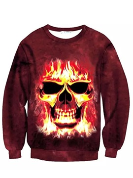 Super Cool Long Sleeve Fire Skull Pattern Inner Suede 3D Painted Hoodie