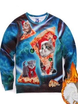 Long Sleeve Christmas Cat Pattern Inner Suede 3D Painted Hoodie