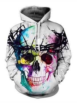 Super Cool Long Sleeve Colorful Skull Pattern 3D Painted Hoodie