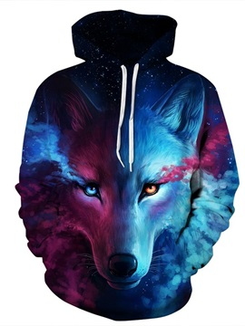 Long Sleeve Wolf Face Color Block Blue Red 3D Pattern Hoodie