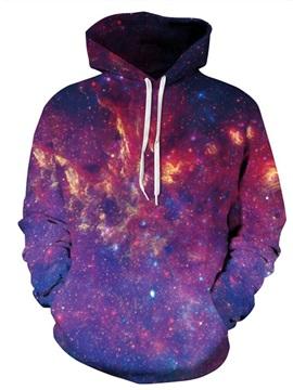 Long Sleeve Colorful Firework Galaxy Sky Pattern 3D Painted Hoodie